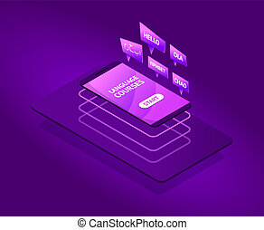 Modern future isometric language courses with flying smartphone. neon colors. speak bobble in foreign languages. vector illustration isolated objects.