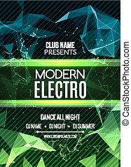Modern Future Sound Party Template, Dance Party Flyer, brochure. Night Party Club sound Banner Poster