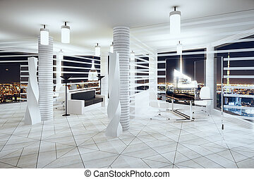 Modern futurism style office with windows in floor and night city view