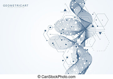 Modern futuristic background of the scientific hexagonal pattern. Virtual abstract background with particle, molecule structure for medical, technology, chemistry, science. Wave flow.