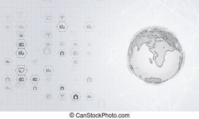 Modern futuristic background scientific hexagonal World wild Globe Loop Animation. Virtual abstract background particle, molecule structure for medical, technology, chemistry, science. Social network