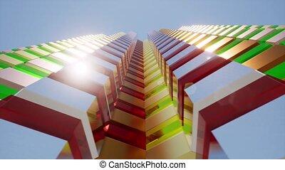 Modern futuristic facade building Urban city Skyline town 4k