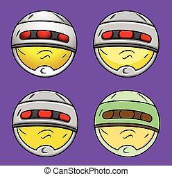 Modern Futuristic Robot Smiley Set