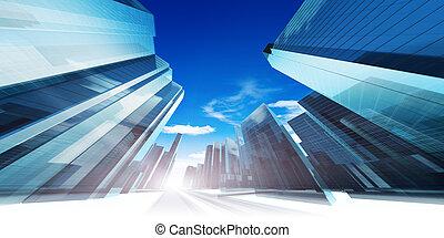 modern, futuristic, város