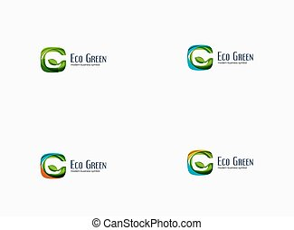 modern, g, brief, grün, eco, begriff, firma, logo