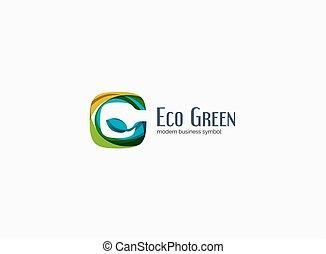 Modern G letter, green eco concept company logo