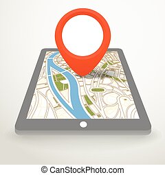 Modern gadget with abstract city map in perspective