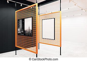 Modern gallery with blank billboard - Modern gallery...