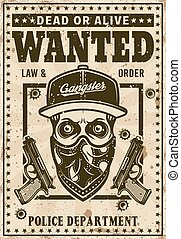 Modern gangster skull in hat vector wanted poster