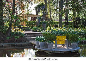 Modern garden in spring