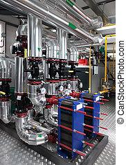modern gas boiler room - Interior of independent modern gas...