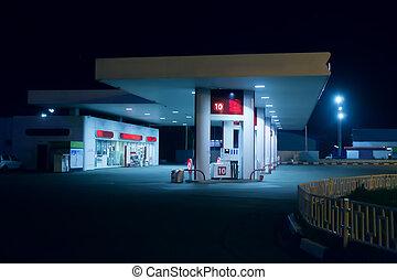 modern gas station at night