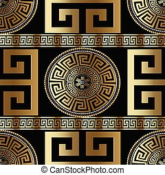 Modern geometric greek seamless pattern. Vector gold meander bac