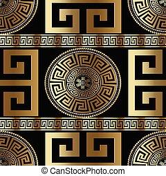 Modern geometric greek seamless pattern. Vector gold meander bac