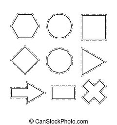 Modern geometric line shapes set vector illustration