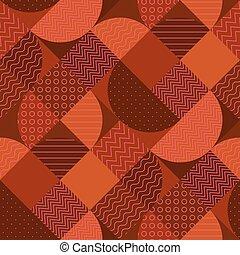 Modern geometric patchwork seamless pattern in terra cotta...