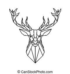 Modern Geometry Reindeer Design Tattoo Vector Image