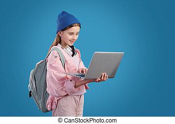 Modern girl surfing internet