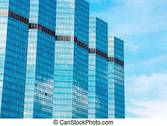 modern, glas, silhouetten, von, wolkenkratzer, stadt