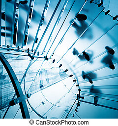 modern, glas, treppenaufgang