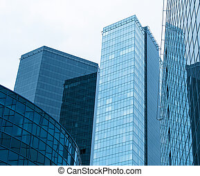 Modern glass buildings in the city.
