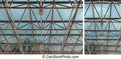 modern glass roof and lamp inside greenhouse