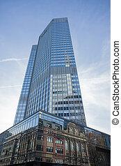 Modern glass skyscraper in Frankfurt, Germany - View from...