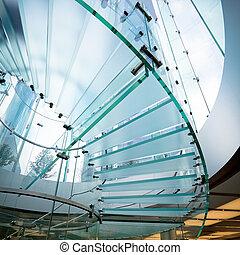 modern glass spiral staircase