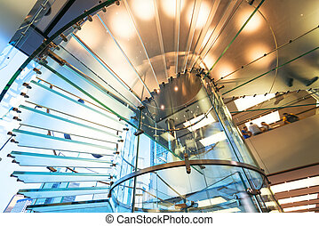 Modern Glass Staircase Silhouette of walking People in shanghai