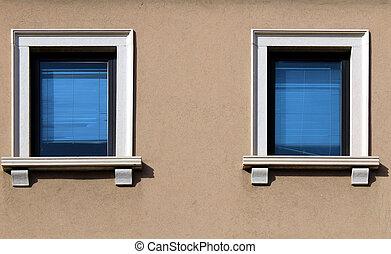 Modern glass windows on a building facade