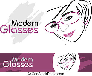 Modern glasses. Icons for design - Stylish modern glasses. ...