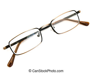modern glasses in metallic frame over the white background