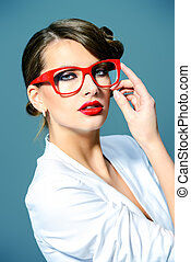 modern glasses - Close-up portrait of a gorgeous young woman...