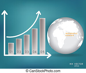Modern globe and Business graph. Vector illustration.