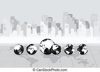 Modern globe with building background. Vector illustration.