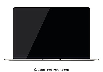 Modern glossy laptop isolated on white background.