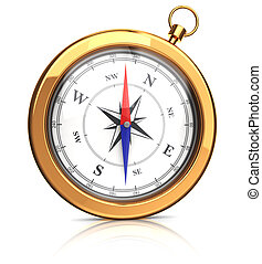 modern gold compasses - front view on 3d gold compass over...