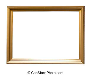 gold picture frame - Modern gold picture frame, isolated ...