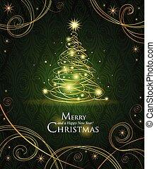 Modern golden Christmas tree