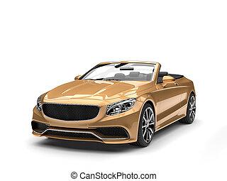 Modern golden luxury convertible car