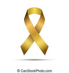 Modern golden vector ribbon isolated on white background