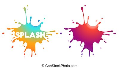 Modern gradient splashes shapes with drops and blots. Vector.