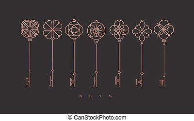 Set of key collection in modern line style drawing on bronze background.