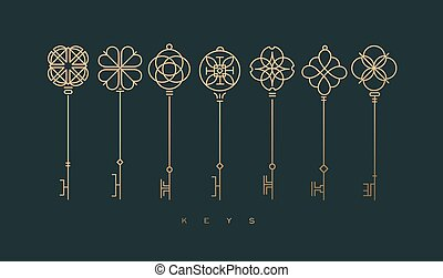 Modern graphic key collection green
