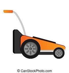 Modern grass cut machine icon, cartoon style