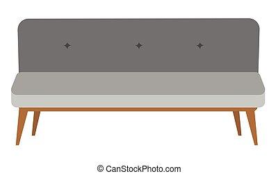 Modern gray settee vector cartoon illustration. - Modern...