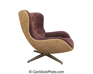 Modern great armchair on white background
