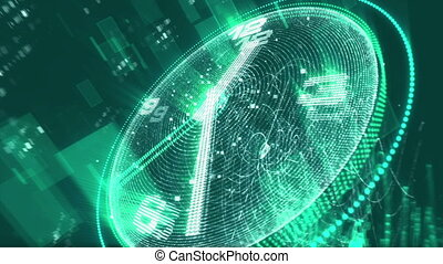 """""""Modern green and blue clock with pixilated screen"""""""