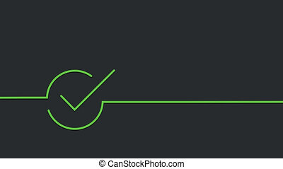 modern green and red check mark on black background. 4K...