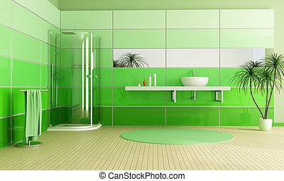 modern bathroom with cabin shower and sink - rendering